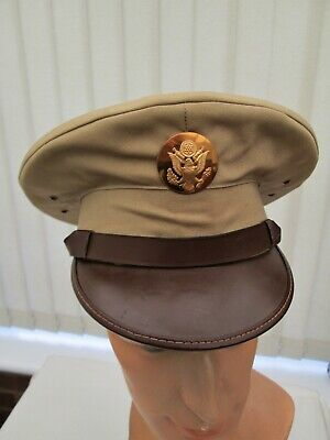 WW2 US Army Enlisted Man's Khaki Summer Tropical Peaked Service Cap Size 7