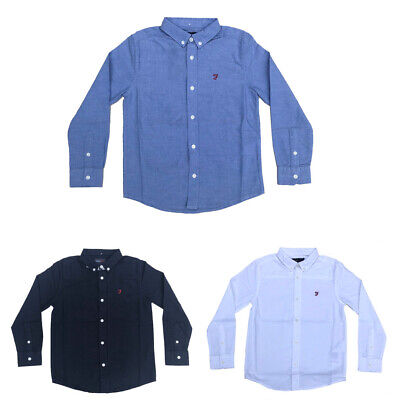 Farah Jeans Boys Long Sleeved Shirt Button Down Collar Ages 7 Years - 15 Years