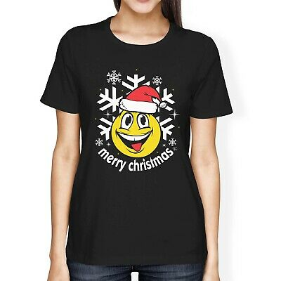 1Tee Womens Loose Fit Merry Christmas Smiling Face Wearing Santa Hat T-Shirt