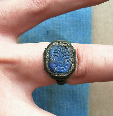 Ancient Viking Old Bronze Ring With Runes Blue Glass Very Rare