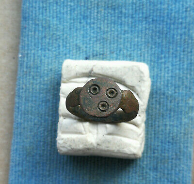 Ancient Viking Old Bronze FABULOUS STATUS Small Ring Runic Ornament VERY RARE