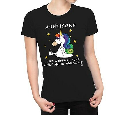 1Tee Womens Aunticorn, Like A Normal Aunt Only Awesome Dabbing Unicorn T-Shirt