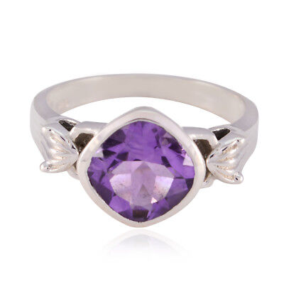 Good Gemstones Square Faceted Amethyst ring - 925 Sterling Silver Purple UK