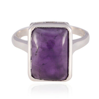 Lovely Gemstones Baguette cabochon Amethyst rings - 925 Solid Silver Purple UK