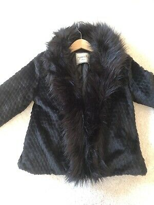 Bnwot Girls Black Faux Fur Velour Jacket Age 10