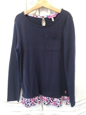 Ln Joules Girls Navy Blue Floral Top 9-10 Worn Once