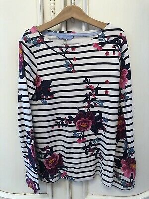 Ln Joules Girls Navy Stripe Floral Top 9-10 Worn Once