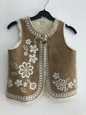 Monsoon Girls Tan Faux Suede And Fur Gilet Age 3-4