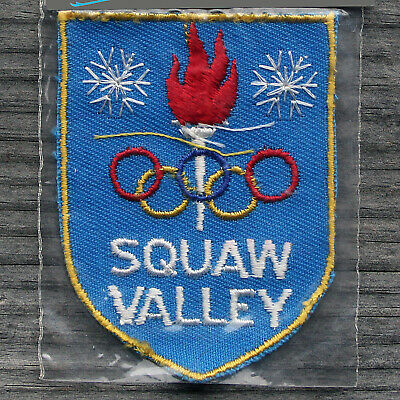 SQUAW VALLEY Vintage Ski Patch CALIFORNIA Skiing Travel CA Olympic RIngs NOS