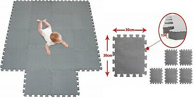 30cm Grey Eva Foam Mat Soft Floor Tiles Interlocking Play Kids Baby Mats Gym New