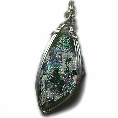 Ancient Roman Glass Pendant Silver - Sterling, Authentic Shard Jewelry 1-82 ZP