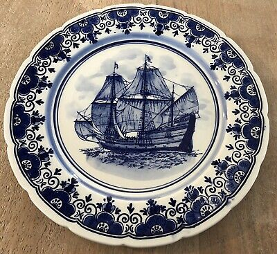 Delft's Blue Hand Painted Porcelain Plate Display Sailing Vessel 9.25""