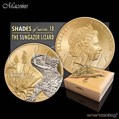 COOK ISLANDS $5 2018 Shades of Nature SUNGAZER LIZARD OGP Proof Silver Coin