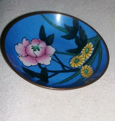 Vintage Chinese Small Hand Painted Porcelain Bowl/Plaque Encased in Brass-Pretty