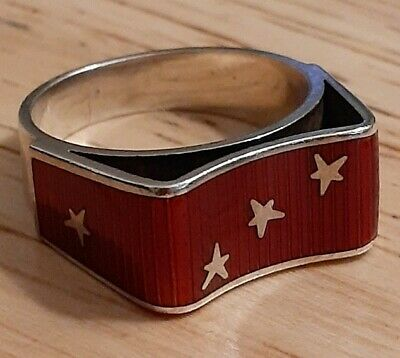 Vintage EGON LAURIDSEN Danish Scarce Sterling Silver Red Enamel Ring 5 Star 925S