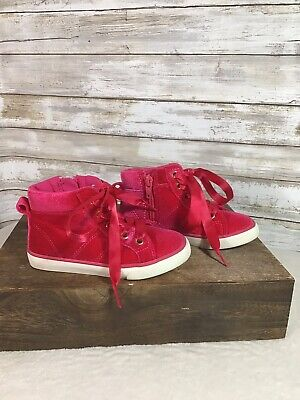 Gymboree Girls Pink Sneakers High Top Velvet Size 9 Shoes Ribbon Laces