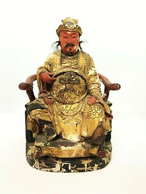 Chinese Seated Emperor Lacquered Wooden Temple Figure Qing Dynasty