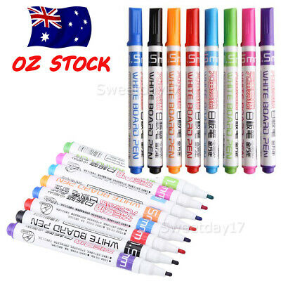 8 Color Whiteboard Marker Pens White Board Dry-Erase Easy Wipe Bullet Tip Gifts