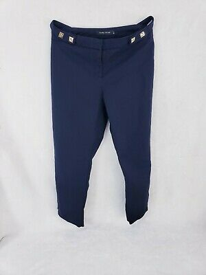 "IVANKA TRUMP Slim Ankle Length Pants 30"" Navy Blue Ankle Zipper Size 6 Used"