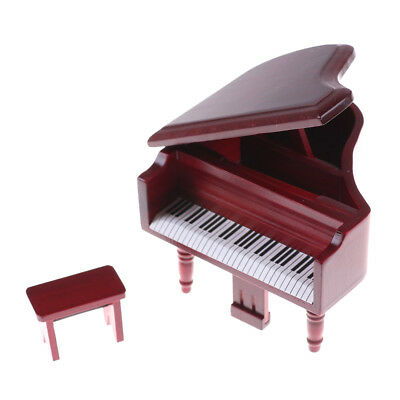 1:12 Dollhouse Miniature Red Wooden Grand Piano With Stool Model Play Toys ^