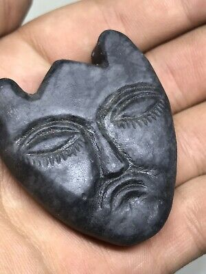 Old Black Jade Stone Vintage Carved Evil Face Mask