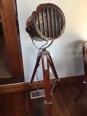 Floor Lamp Spotlight Nautical With Wooden Tripod  Stand