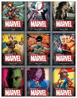 Topps Marvel Collect Heroines White Complete 20 Digital Card Set Award Ready