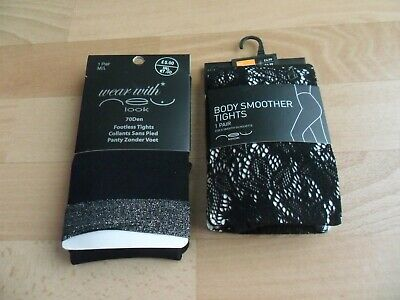 New Look Set Of Two Ladies Black Tights (Body Smoother / Footless) New With Tags