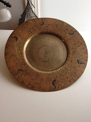 "Antique Persian Brass Handmade Enamelled Plate 12"" Solid Art Work"