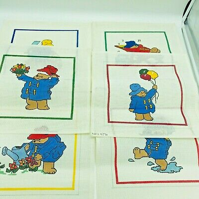 6 Hand Painted Needlepoint Patterns Paddington Bear Series Balloons Flowers Rain