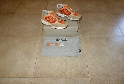 Hogan INTERACTIVE Beige-Orange Suede-Canvas Sneakers Shoes Scarpe 39 MadeInItaly