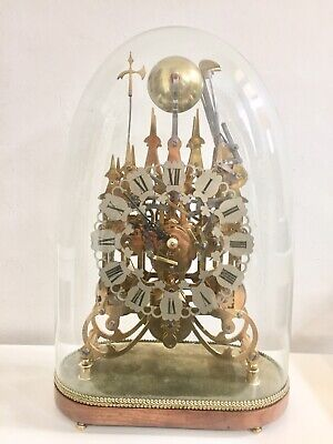 Rare Vintage Triple Fusee Dual Chime 8 Bells Skeleton Clock Under Glass Dome!