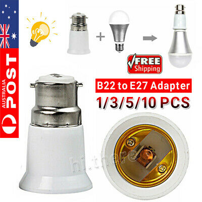 10PCS B22 to E27 Bulb Light Lamp Base Edison Screw Bayonet Converter Adapter KIO