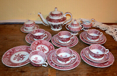 TEESERVICE für 6 Pers. 22 Teile SPODE Camilla Rot TOP