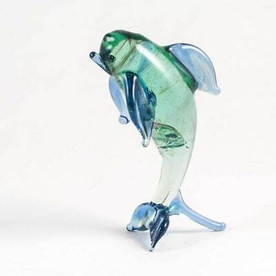 Glass Dolphin Figurine Hand-Blown Collectible Sea Life FIgure #003