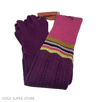 Missoni For Target Rare Long Purple Pink Green Knit Striped Knit Gloves One Size
