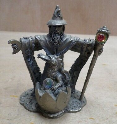 Protector of the Young Wizard Mage Dragon Crystal Pewter Figure Tudor Mint 3097
