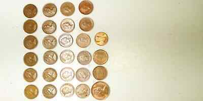 Job Lot. 28 Coins, 1Penny, 1 euro Cent, 1971 - 1999 ( old coins )