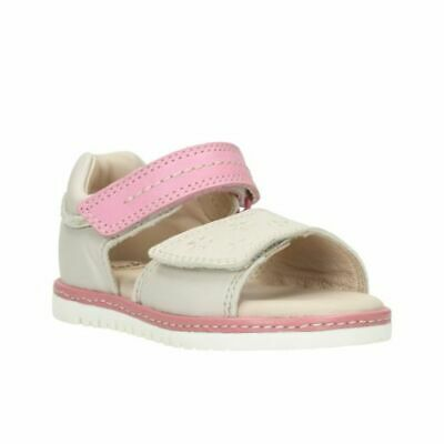Clarks Tika Ice Fst Cotton Combi Leather Girls Sandals Size UK 6 1/2F