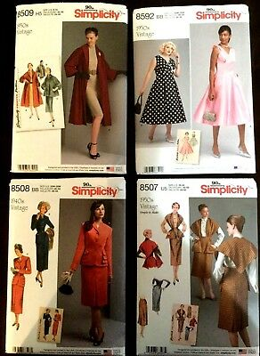 SIMPLICITY 90th ANNIVERSARY, FOUR 1940's & 1950's PLUS SIZE SEWING PATTERNS-EC
