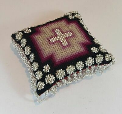 Large Antique Victorian Beadwork Tapestry Needlepoint Pin Cushion Cross 4""