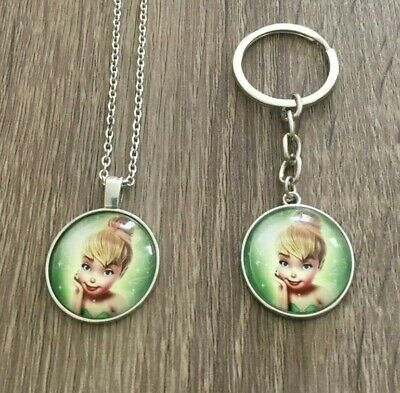 """Tinker Bell Necklace (11"""" Long) and Keychain NWOT Green"""
