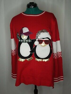Hoilday Time   Women's White/Red Christmas Pull over Sweater (Size Plus: 2X)
