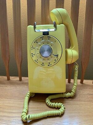 Vintage Bell System Western Electric AT&T Bright Yellow Rotary Dial Wall Phone