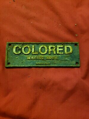 black americana colored waiting room plaque cast iron vintage