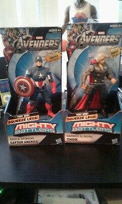 2 Marvel Avengers Mighty Battlers Thor & Captain America 2011 Hasbro Brand New