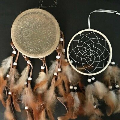 Small handmade Dream Catcher & Drum set w feathers beads wall hanging decoration