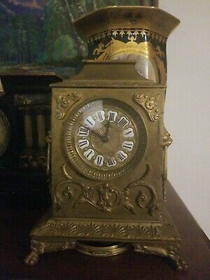 Antique brass mantle clock with lions parts repair
