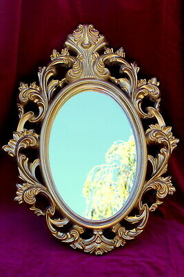 French Vintage golden wooden mirror Chateau Paris 82 cm high great condition