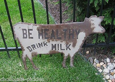 LARGE Brown Dairy Milk COW Kitchen SIGN*Primitive/Farmhouse French Country Decor